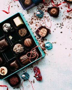 Photo of christmas dinner chocolates. What do you say when asked to describe your job to relatives?
