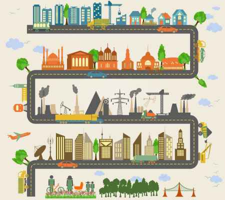 Illustration of landscapes and cityscapes with various industries