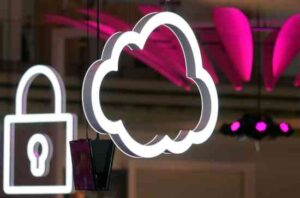 Photo of CeBIT exhibition displaying cloud and lock symbols