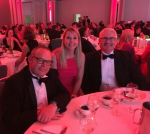 Dermot Kavanagh, Kate Twomey, and Brian O'Neill at the 2017 Chambers Ireland CSR Awards ceremony.